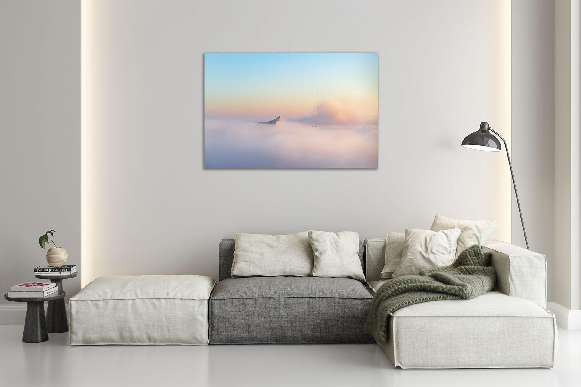 Hamburg Elbphilharmonie im Nebel michel und elbe Soundcloud Wandbild Dibond Leinwand Acrylglas