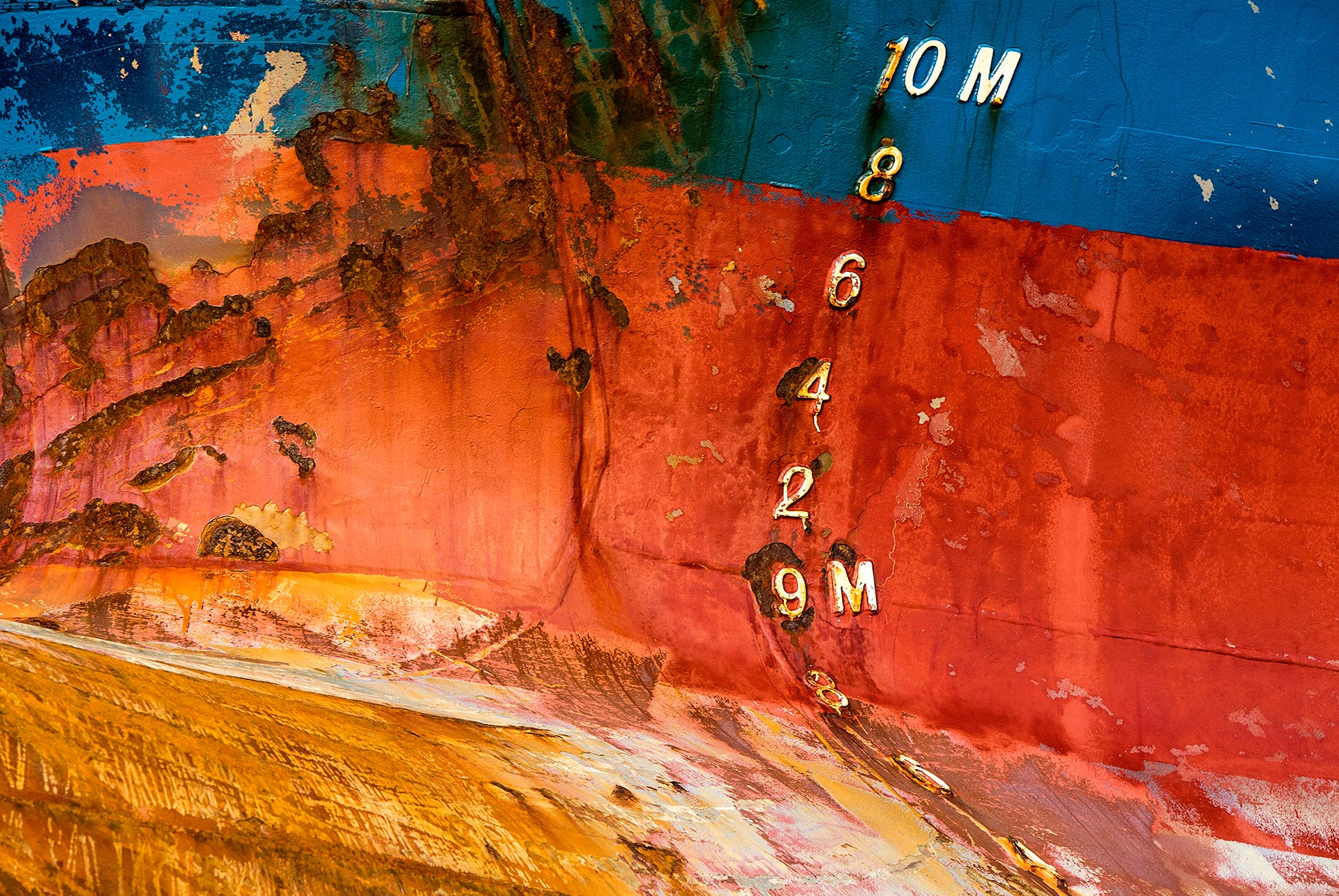 NL050 Schiffswand Tiefgang Hamburg-Wandbild auf Leinwand, Dibond oder hinter Acylglas
