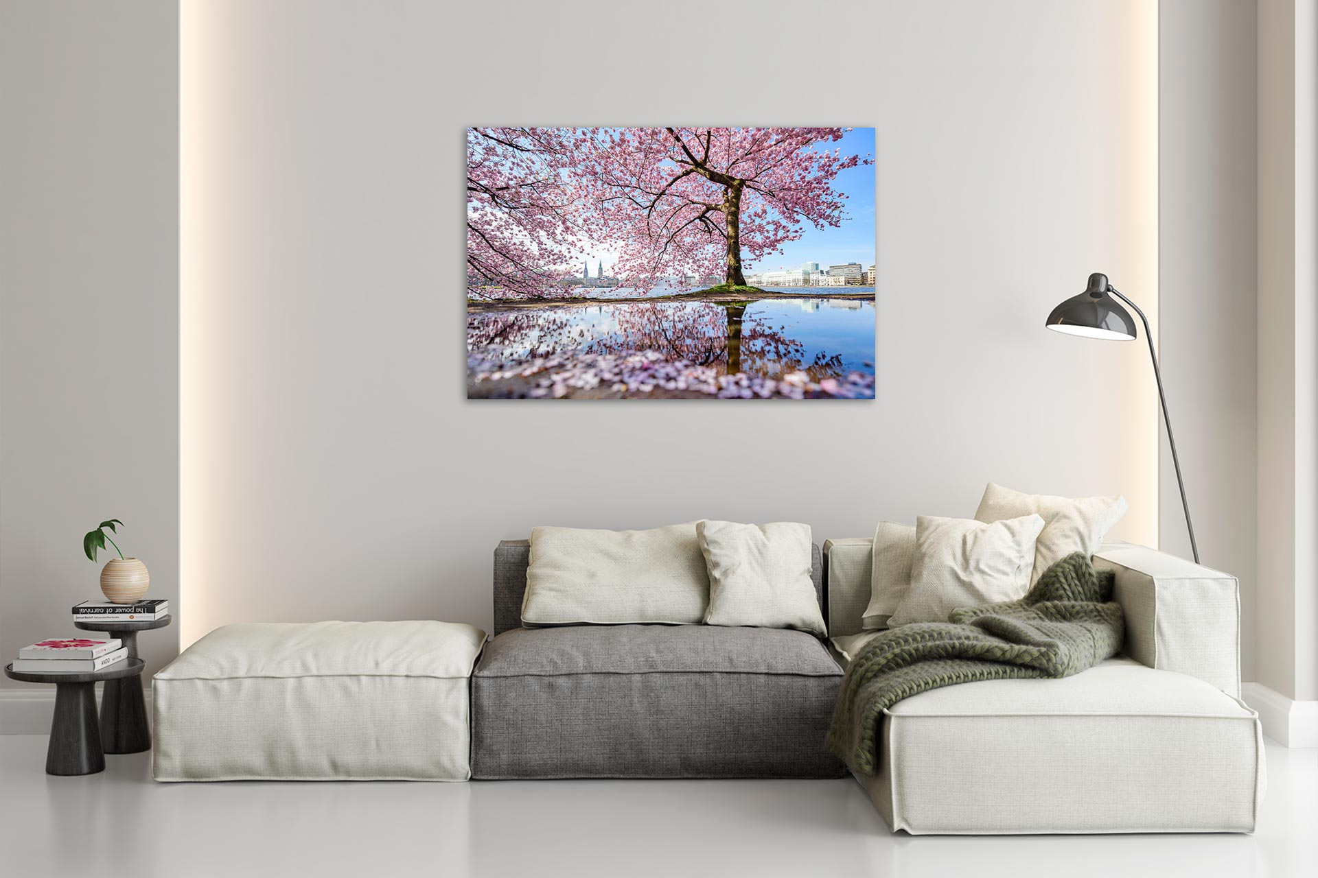 NL069-alster-fruehling-kirschbluete-hamburg-wandbild-auf-leinwand-acrylglas-aludibond-wohnzimmer