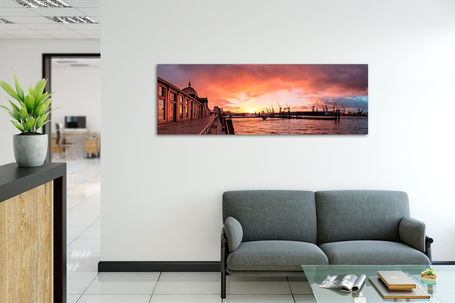 PSW104-morgenrot-hamburg-wandbild-auf-leinwand-acrylglas-aludibond-empfang