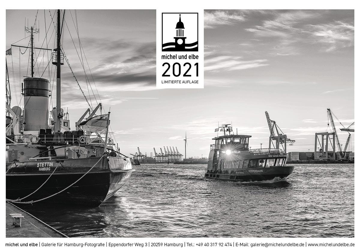Kalender 2021 limiterte Auflage Schwarzweiss Hamburg michel und elbe