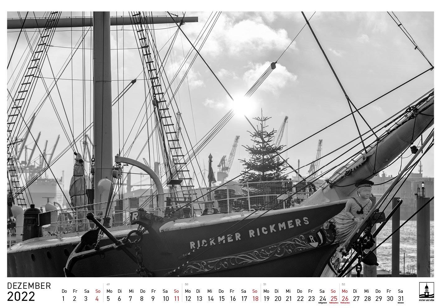 Hamburg-Kalender SW 2022 michel und elbe Dezember