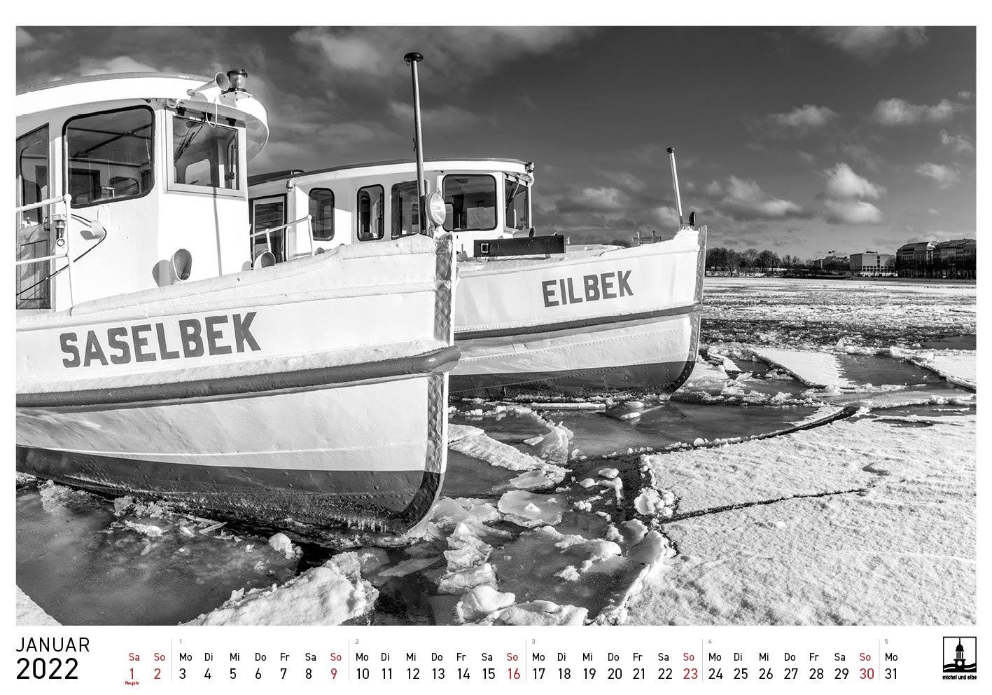 Hamburg-Kalender SW 2022 michel und elbe