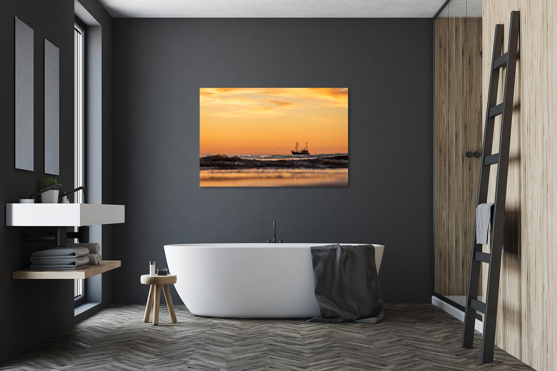 Krabbenkutter Bild auf Leinwand, Acrylglas, Aludibond