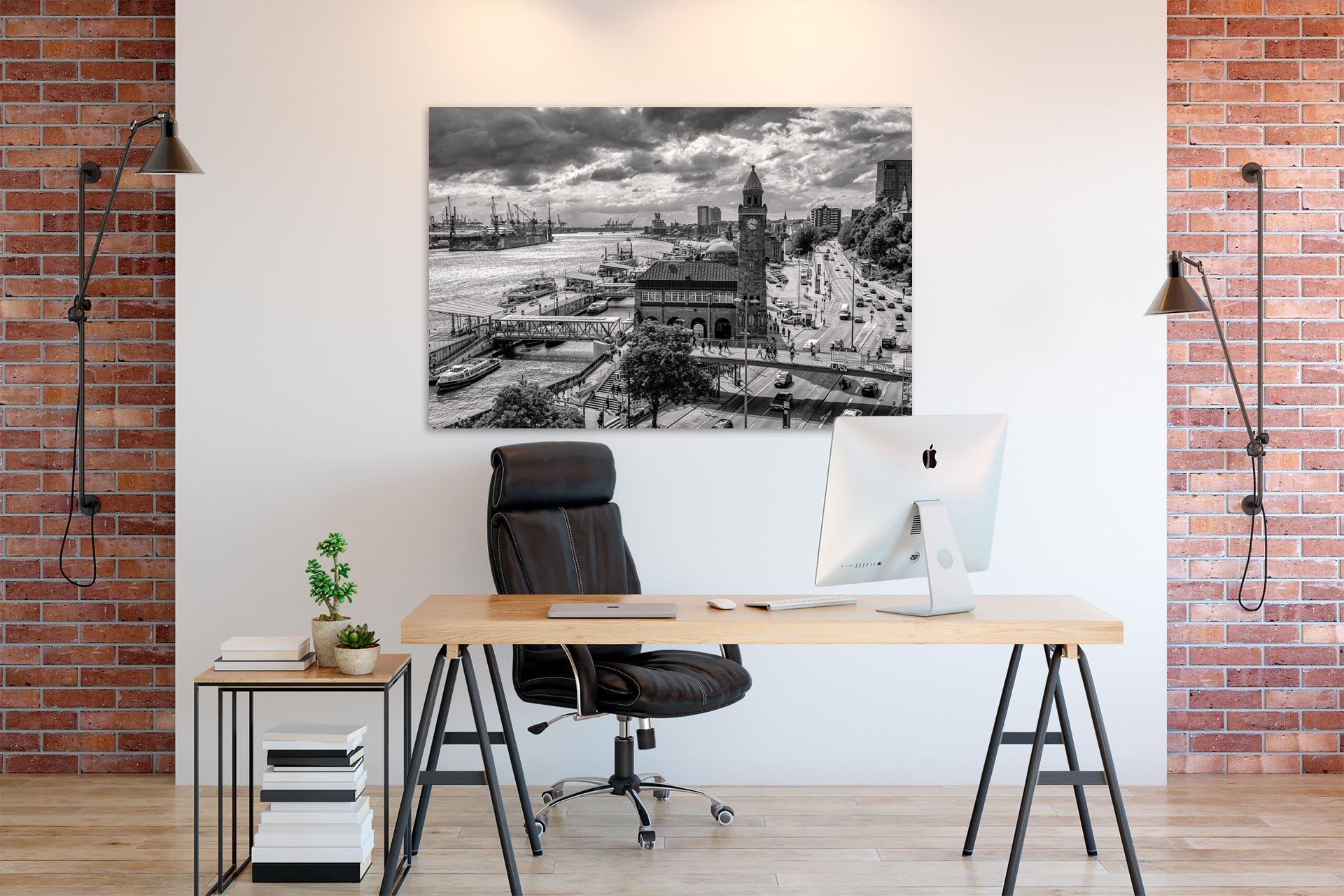Landungsbrücken Bild auf Leinwand, Acrylglas, Aludibond