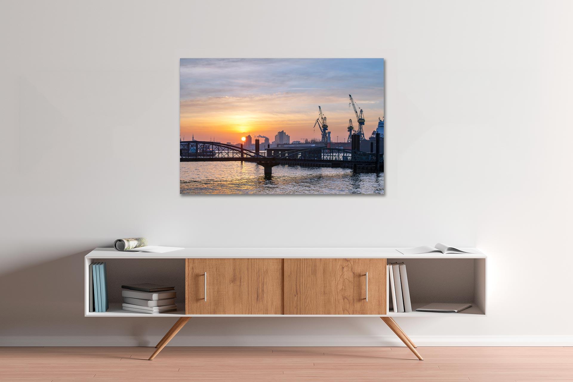 Hafenlicht Hamburg Wandbild auf Leinwand Acrylglas Aludibond