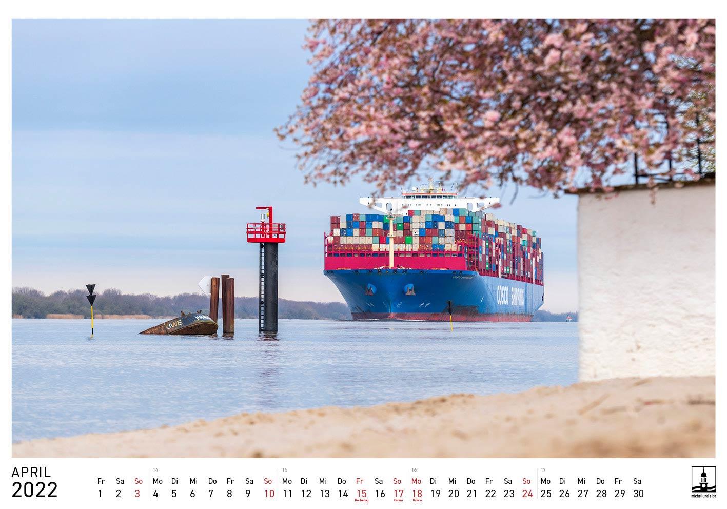 Hamburg-Kalender 2022 Farbe michel und elbe