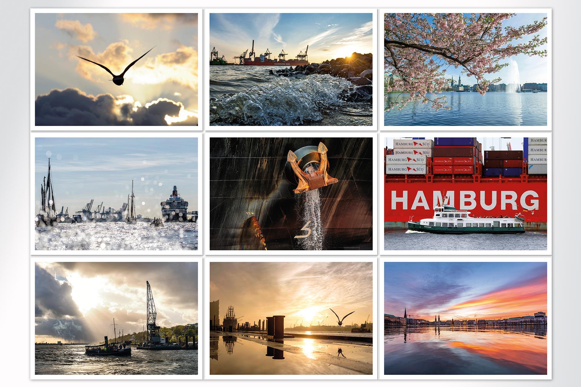 PKM Postkarten Postkartenset Hamburg Maritim michel und elbe