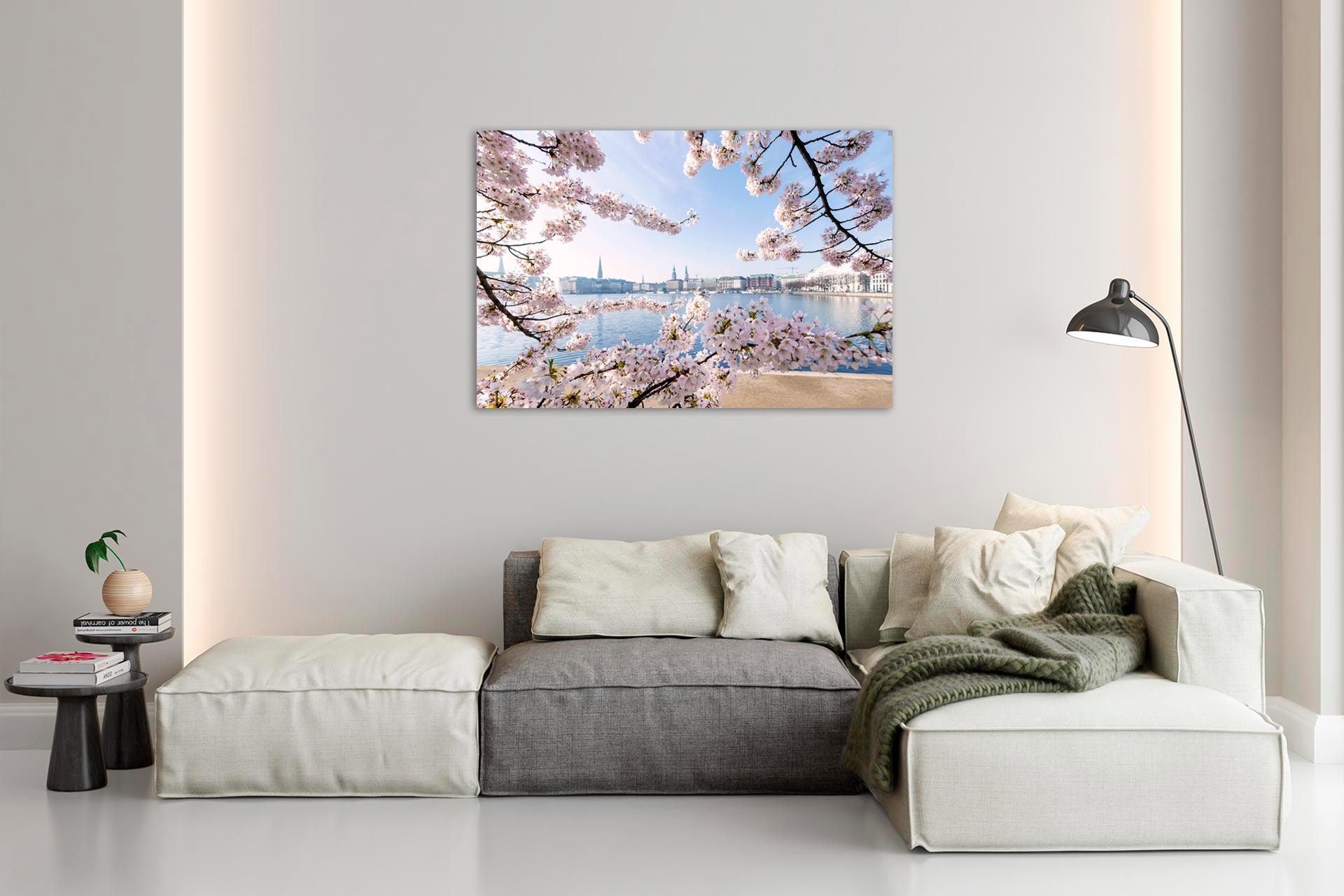 Alsterblühen Hamburg Wandbild auf Leinwand Acrylglas Aludibond