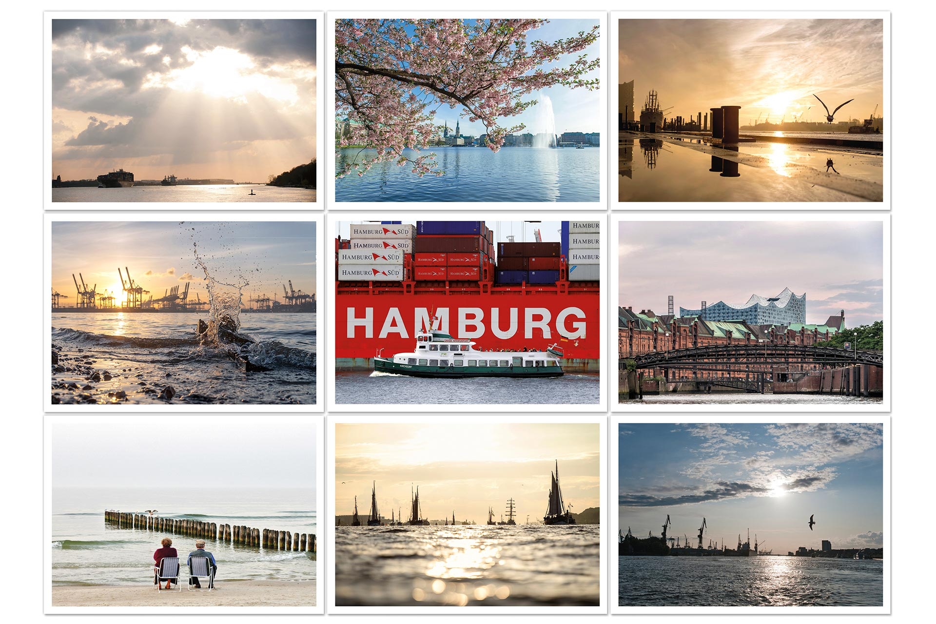 Postkarten Postkartenset Hamburg Frühling michel und elbe