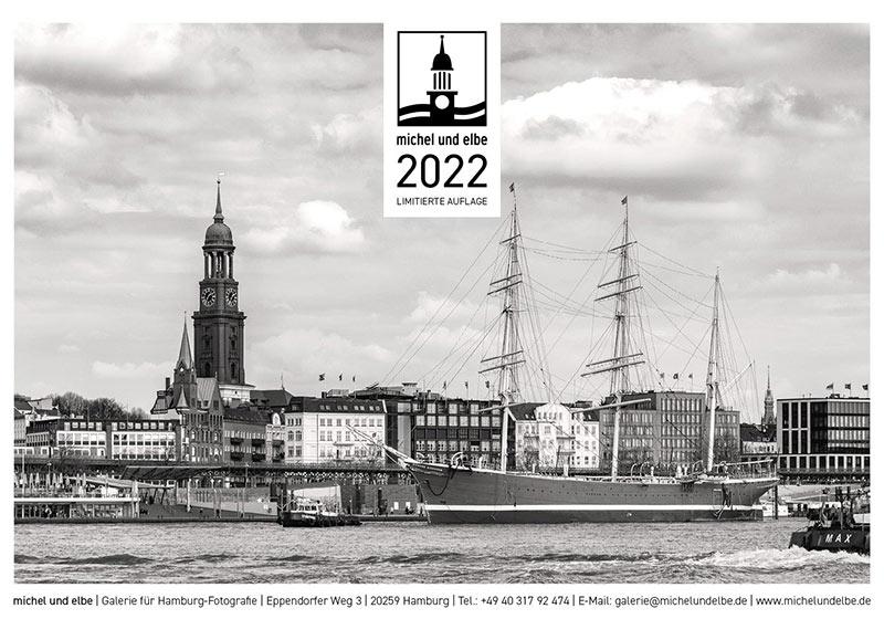 Hamburg Wand-Kalender SW 2022 michel und elbe 2022